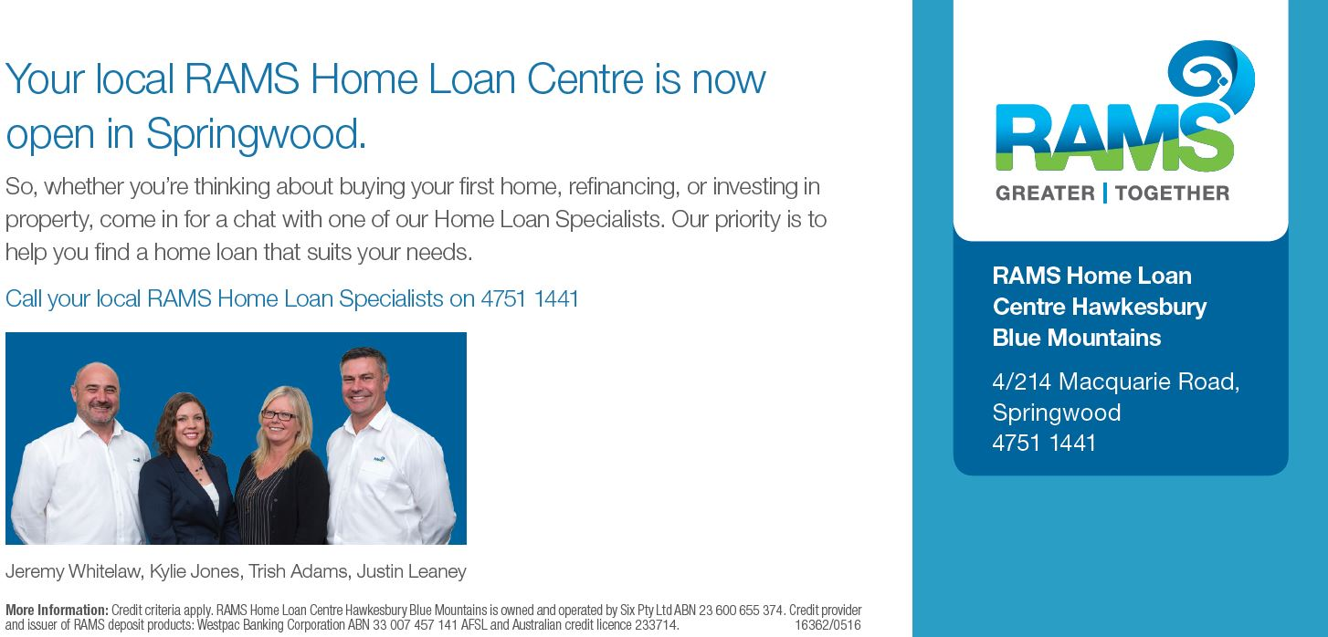 One of our valued Sponsors, RAMS Home Loans, has now moved closer to home - their new office is in Springwood